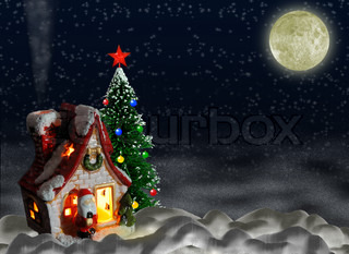 A night landscape with a toy small house and a fur-tree