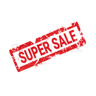 Super Sale Sticker Rubber Ink Sign Shopping Badge Icon Isolated