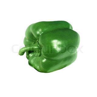 fresh green paprika isolated on white