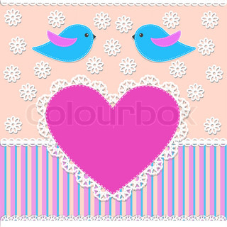 Greeting card with birdsVector illustration in scrapbook style
