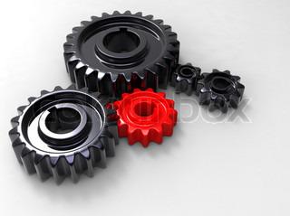 3d illustration of gold gears mechanism concept