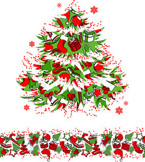 Christmas traditional tree and seamless border