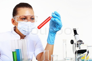 Young female scientist in a chemistry laboratory