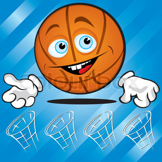 Funny smiling basket ball on the blue background