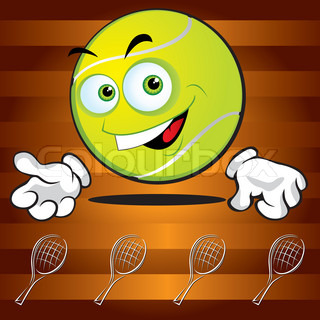 Funny smiling tennis ball on the broun background