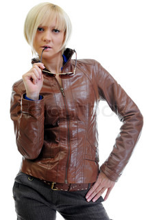 young woman in a leather jacket Isolated on a white background