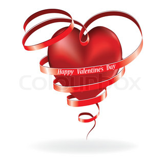 Heart love card, valentine day, background with ribbon, vector illustration