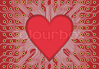 Red electronic circuit board vector, heart in technology