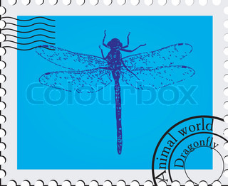 Stamp. Dragonfly. Vector