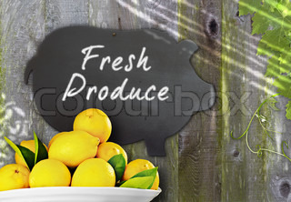 Fresh Bowl Of Lemons & Black Chalkboard Pig Restaurant Menu Advertising Space For Fresh Citrus Fruit Produce Over Distressed Grunge, Vintage, Aged And Green Moss Covered Wood Background Framed With Grape Leaves And Tendrils
