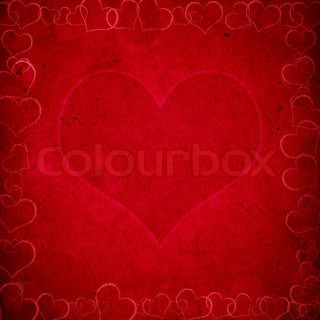 red valentine's grunge background with hearts