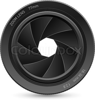 Illustration of camera lens, on white background for design