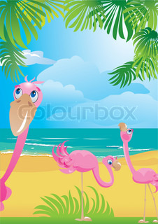 Portrait border with flamingos on beautiful tropical beach.