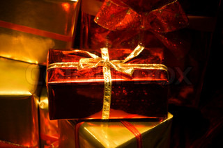 Christmas presents with glossy paper