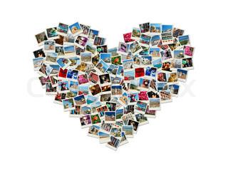 Travel Leidenschaft - herzförmigen Collage der Welt Fotos gemacht