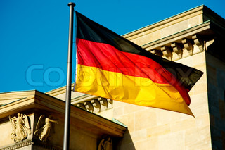 German flag in front of a building