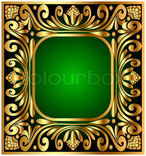 illustration square frame with golden antique pattern