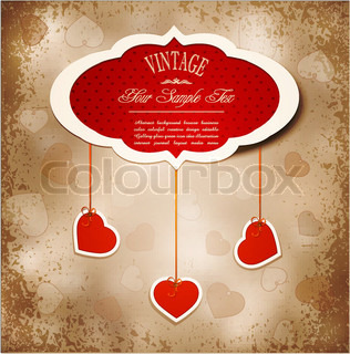 Vintage grunge background to a festive Valentine's Day with three dangling hearts