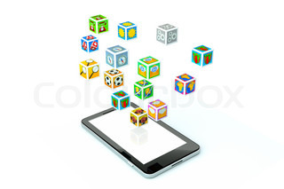 a single modern cellphone on white background with icons around it
