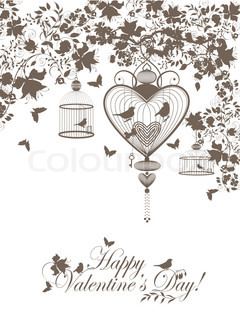 Stylish valentine background with decorative cages and birds.