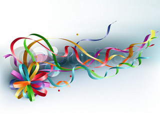 Stylish colorful background with rainbow bow and ribbons.