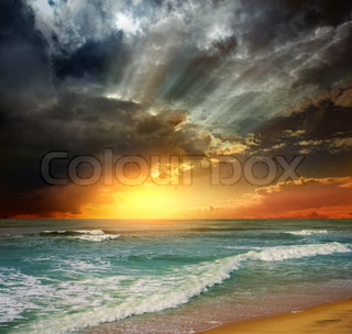 Folly Beach Ocean Sunset Landscape marinemaleri scene i Det Indiske Ocean