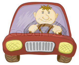 Cartoon, car with a man driver, isolated on white