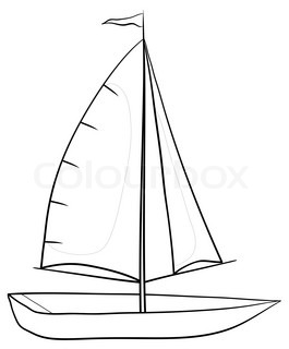 Sailing boat with a flag on the mast, monochrome contours on white background