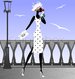 strolling on the promenade lady with a rose, the sea gulls fly