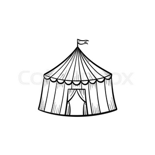 Marquee circus tent hand drawn sketch icon.  sc 1 st  Colourbox & Circus tent vector sketch icon isolated on background. Hand drawn ...