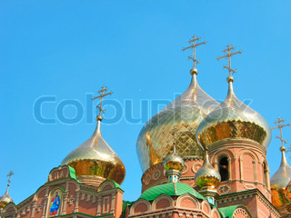 Golden onion domes of St Vladimir Cathedral // Cathedral of Grand Prince St Vladimir, Equal-to-the-Apls The biggest orthodox temple on the Eastern Ukraine, location: Lugansk