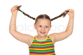 Pretty little girl holding her braids