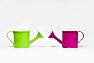 colored, small, metal watering cans