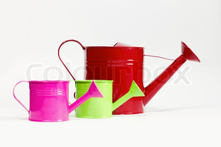colored, metal watering cans