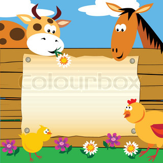 Greeting card with farm animals