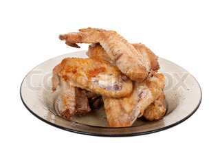 Fried chicken wing on plate