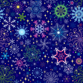 Christmas dark blue seamless pattern with colorful snowflakes and stars vector