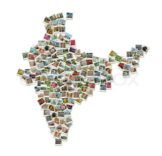 Map of India - collage made of travel photos