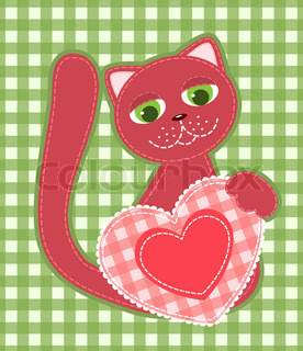 Red application cat on the green background Vector illustration