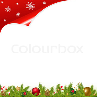 Christmas And New Year Illustration With New Year's Sphere And Stars, Branches Of Fur-tree And Sugar Candies, Vector Illustration