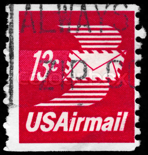 USA - CIRCA 1973: A Stamp printed in USA shows the Winged Airmail Envelope, circa 1973