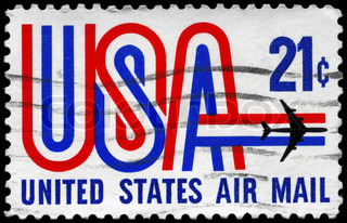 USA - CIRCA 1968: A Stamp printed in USA shows the USA inscription and Jet, circa 1968