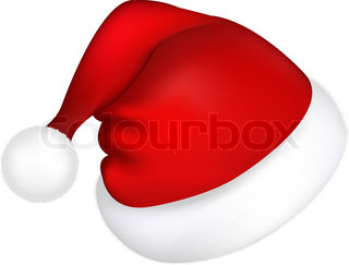 Hat Santa Claus, Isolated On White Background, Vector Illustration