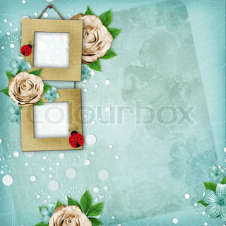 Beautiful album page in scrapbook style with paper frames for photo, rose 1 of set