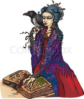 Frau Hexe mit Schwarzer Rabe Lesung alten Zauberbuch - Abbildung.