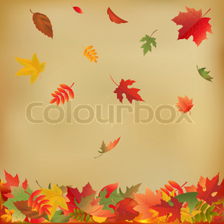 Autumn Falling Leaves på gammelt papir , Vector Illustration