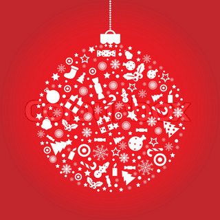 Christmas Ball, On Red Background, Vector Illustration