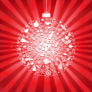 Christmas Ball From Icons With Beams And Stars, On Red Background, Vector Illustration