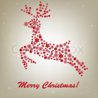 Stylized Christmas Deer, Isolated On Beige Background, Vector Illustration