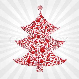 Christmas Fur-trees With Beams And Stars, On Grey Background, Vector Illustration